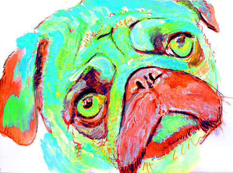 Pug Dog art Print Watercolor, wall Art Aqua marine and red pug painting print, Watercolor Pug puppy dog home decor gift idea pug print - Dog portraits by Oscar Jetson - 1
