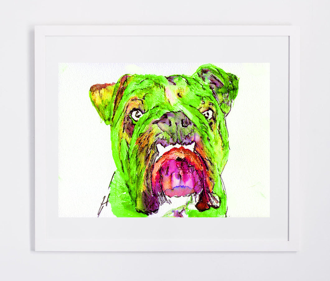 Bulldog painting art print from original watercolor Painting,vibrant green wall art Print painting of english Bulldog gift bulldog art print - Dog portraits by Oscar Jetson