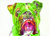 Bulldog painting art print from original watercolor Painting,vibrant green wall art Print painting of english Bulldog gift bulldog art print - Dog portraits by Oscar Jetson - 2