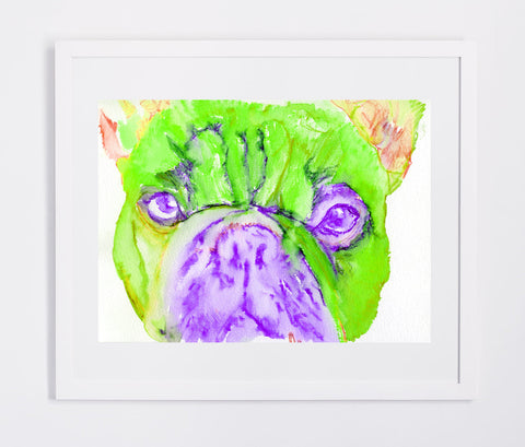 French Bulldog painting watercolor fine art Print Artist Signed from original painting of frenchie green, purple french bulldog print - Dog portraits by Oscar Jetson - 1