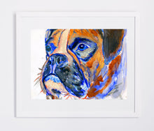 Load image into Gallery viewer, Boxer Dog art Print of Original watercolor painting illustration Orange Blue Brindle Boxer dog home decor gift idea Boxer dog print - Dog portraits by Oscar Jetson