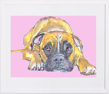 Load image into Gallery viewer, Boxer Dog print, boxer dog wall art, boxer dog painting, boxer mom gift,Boxer Dog Portrait, Watercolor Boxer dog, Boxer dog puppy print - Dog portraits by Oscar Jetson