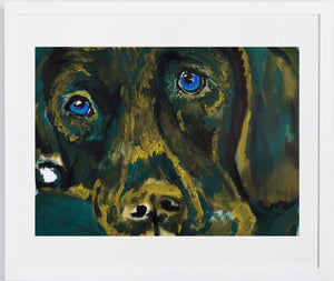 Labrador painting art print Dog Painting wall art Print home decor,Green, Golden yellow Labrador gift idea dog print Abstract Labrador print - Dog portraits by Oscar Jetson