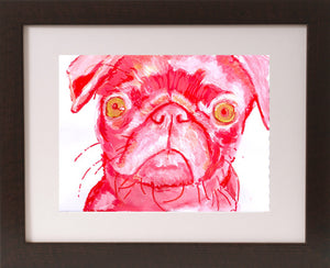 Pug Painting art print dog Portrait art print Artist Signed Colorful Red and pink Abstract Pug print from original painting funny pug print - Dog portraits by Oscar Jetson