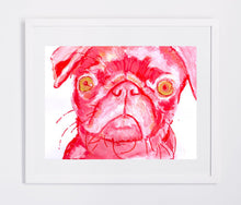 Load image into Gallery viewer, Pug Painting art print dog Portrait art print Artist Signed Colorful Red and pink Abstract Pug print from original painting funny pug print - Dog portraits by Oscar Jetson