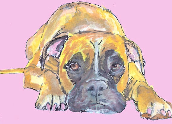Boxer Dog print, boxer dog wall art, boxer dog painting, boxer mom gift,Boxer Dog Portrait, Watercolor Boxer dog, Boxer dog puppy print - Dog portraits by Oscar Jetson