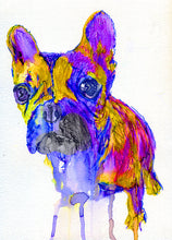 Load image into Gallery viewer, French Bulldog art Print,Frenchie Portrait, Colorful Frenchie,dog Art french bulldog decor,colorful dog art, frenchie owner, wall art print - Dog portraits by Oscar Jetson