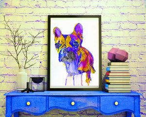 French Bulldog art Print,Frenchie Portrait, Colorful Frenchie,dog Art french bulldog decor,colorful dog art, frenchie owner, wall art print - Dog portraits by Oscar Jetson