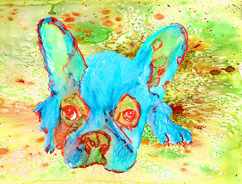 French Bulldog watercolor Print, Colorful French Bulldog Painting, Frenchbull Portrait, Aqua Marine ,french bulldog, Dog painting art print - Dog portraits by Oscar Jetson