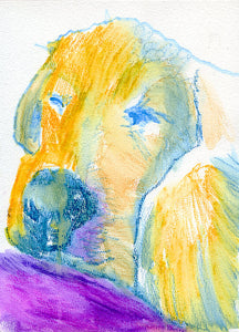 Labrador Dog print, Print of Original Painting Purple and Yellow home decor, yellow lab print purple dog art, lab portrait labrador print - Dog portraits by Oscar Jetson