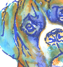 Load image into Gallery viewer, Boxer Dog, art Print of Original, watercolor painting,boxer illustration, Orange Aquamarine Blue, Brindle Boxer dog,gift for boxer owner. - Dog portraits by Oscar Jetson