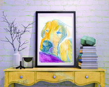Load image into Gallery viewer, Labrador Dog print, Print of Original Painting Purple and Yellow home decor, yellow lab print purple dog art, lab portrait labrador print - Dog portraits by Oscar Jetson