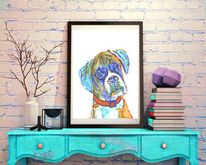 Boxer Dog, art Print of Original, watercolor painting,boxer illustration, Orange Aquamarine Blue, Brindle Boxer dog,gift for boxer owner. - Dog portraits by Oscar Jetson