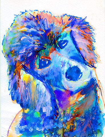 Poodle dog art Print from watercolor Painting Poodle dog Portrait light violet, pink decor art blue aqua marine colorful Poodle print - Dog portraits by Oscar Jetson