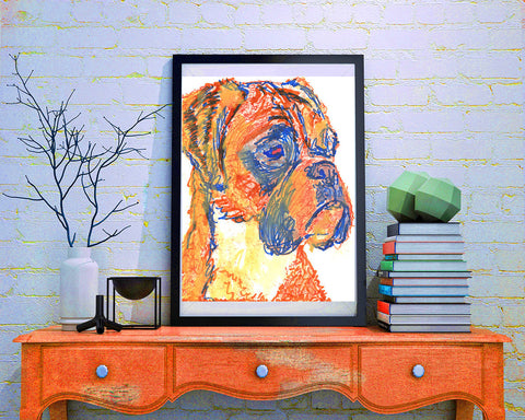 Boxer Dog painting Giclee print Artist Signed Orange Canine Art Boxer dog art print - Dog portraits by Oscar Jetson - 1
