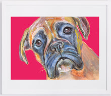 Load image into Gallery viewer, Boxer Dog Canvas Print of Original Painting Red Background loving face -hand signed boxer dog gift idea - Dog portraits by Oscar Jetson
