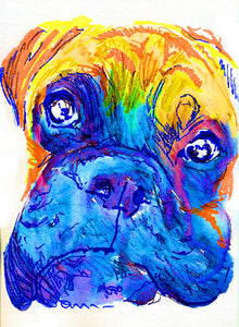 Boxer Dog colorful painting portrait art Print Orange blue painting home decor dog owner gift pet lover boxer breed art boxer dog art print - Dog portraits by Oscar Jetson