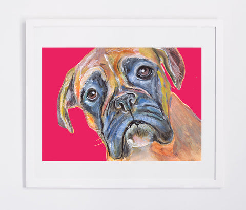 Boxer Dog Canvas Print of Original Painting Red Background loving face -hand signed boxer dog gift idea - Dog portraits by Oscar Jetson