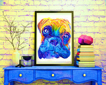 Load image into Gallery viewer, Boxer Dog colorful painting portrait art Print Orange blue painting home decor dog owner gift pet lover boxer breed art boxer dog art print - Dog portraits by Oscar Jetson