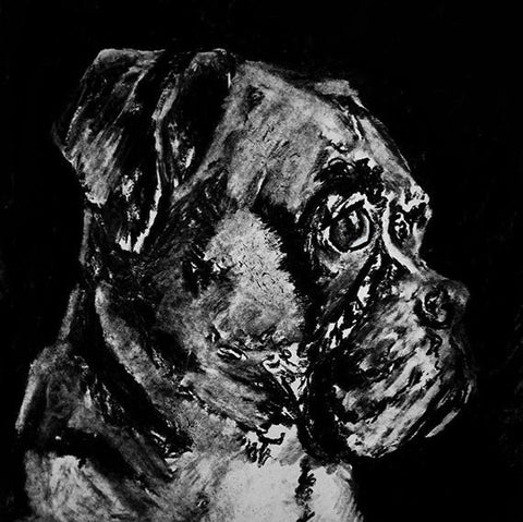 Boxer Dog charcoal drawing giclee print of Original charcoal dog portrait, boxer dog gift ,boxer dog black and white drawing boxer print - Dog portraits by Oscar Jetson
