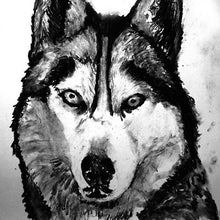 Load image into Gallery viewer, Husky dog art print, black and white, Husky dog,charcoal drawing,Husky portrait wall art print home decor Black Husky print - Dog portraits by Oscar Jetson