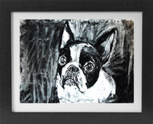 Load image into Gallery viewer, Boston terrier dog art print, black and white dog,charcoal drawing, boston terrier portrait wall art print home decor boston terrier print - Dog portraits by Oscar Jetson