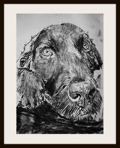 Black Labrador Charcoal art print black and white lab dog gift labrador dog drawing art print - Dog portraits by Oscar Jetson