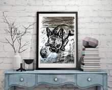 Load image into Gallery viewer, French Bulldog dog art print, black and white, Frenchie dog,charcoal drawing, Frog dog portrait, wall art print, Black French bulldog print - Dog portraits by Oscar Jetson