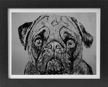 Load image into Gallery viewer, Pug dog art print, black and white, Pug dog,charcoal drawing, Pug dog portrait, wall art print, Black Pug dog art print - Dog portraits by Oscar Jetson