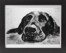 Load image into Gallery viewer, Black Labrador dog art charcoal drawing lab dog drawing wall art gift labrador dog print - Dog portraits by Oscar Jetson