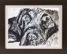 Load image into Gallery viewer, Black Lab dog art Charcoal drawing print lab dog wall art gift labrador dog drawing art print - Dog portraits by Oscar Jetson