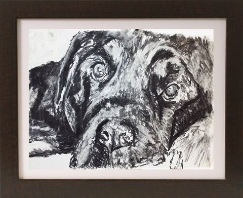 Black Lab dog art Charcoal drawing print lab dog wall art gift labrador dog drawing art print - Dog portraits by Oscar Jetson - 1