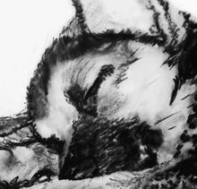 Load image into Gallery viewer, Husky Puppy print, charcoal Husky drawing, Husky dog gift, giclee print,dog portrait, Husky dog gift ,drawing Husky print - Dog portraits by Oscar Jetson