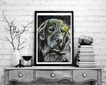 Load image into Gallery viewer, Golden retriever print, charcoal Golden retriever drawing,dog gift, giclee print,dog portrait, golden retriever dog print - Dog portraits by Oscar Jetson