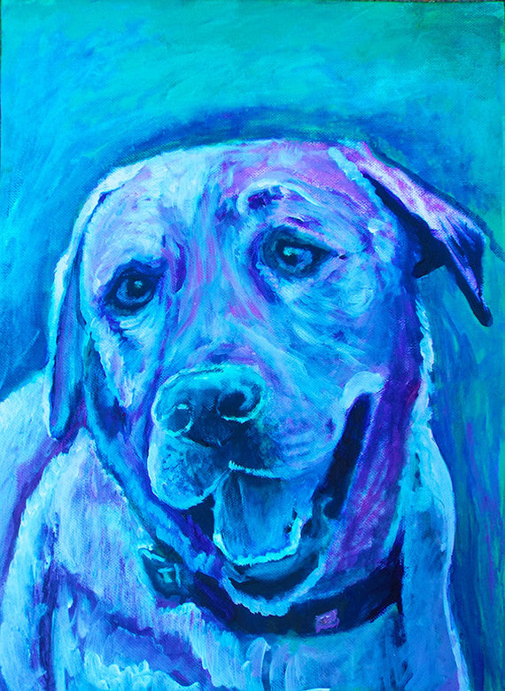 Labrador wall art, colorful lab print,lab lover gift, lab mom, Gift for Lab owner, Blue Lab, Labrador painting, Colorful dog painting print - Dog portraits by Oscar Jetson