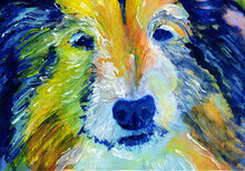 Load image into Gallery viewer, Collie Dog Painting Blue and Orange, Collie dog Print , watercolor art  print Lassie Dog Art rough collie gift idea Collie art print - Dog portraits by Oscar Jetson