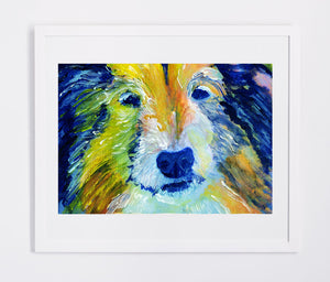 Collie Dog Painting Blue and Orange, Collie dog Print , watercolor art  print Lassie Dog Art rough collie gift idea Collie art print - Dog portraits by Oscar Jetson