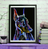Doberman Dog Painting abstract Purple , Doberman painting Print , watercolor art  print Art Doberman gift idea Dobie art print - Dog portraits by Oscar Jetson
