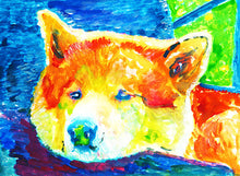 Load image into Gallery viewer, Akita painting art print, Akita Inu dog gift, colorful akita dog art, Akita dog painting, Abstract Akita, Dog painting, Gift for Akita owner - Dog portraits by Oscar Jetson