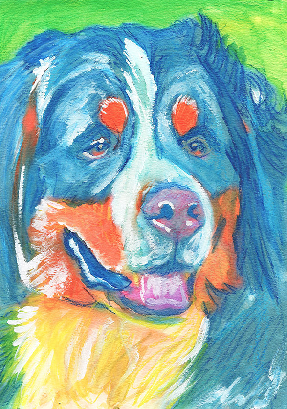 Bernese Mountain Dog art print dog painting art Print colorful modern art Berner gift idea dog painting Abstract bernese mountain art print - Dog portraits by Oscar Jetson