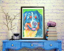 Load image into Gallery viewer, Bernese Mountain Dog art print dog painting art Print colorful modern art Berner gift idea dog painting Abstract bernese mountain art print - Dog portraits by Oscar Jetson