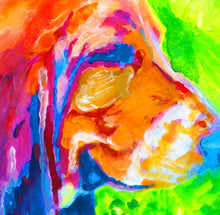 Load image into Gallery viewer, Basset Hound wall art, Basset hound mom, Basset hound gift, colorful Basset hound,dog portrait , Basset hound lover, Basset hound print - Dog portraits by Oscar Jetson