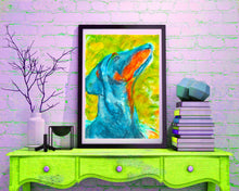 Load image into Gallery viewer, Doberman art print, doberman mom, Dog Painting, doberman gift, Doberman wall art, doberman watercolr, dobie lover, dobie art print - Dog portraits by Oscar Jetson