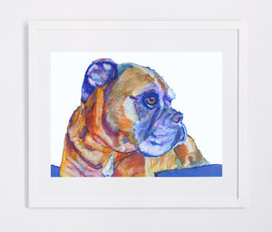 Boxer Dog wall art, boxer dog mom, boxer dog gift, boxer dog watercolor, boxer dog decor, Boxer dog owner, colourful Boxer dog art print - Dog portraits by Oscar Jetson