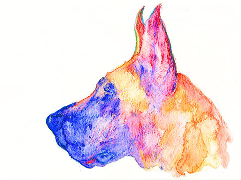 Great Dane Dog watercolor print dog painting wall art Print colorful art Great Dane gift idea Great dane painting Great Dane print - Dog portraits by Oscar Jetson - 1