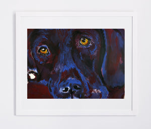 Labrador Dog Gift Crimson and navy blue Dog Painting - Signed Print of original Watercolor  acrylic Labrador painting-Labrador dog art print - Dog portraits by Oscar Jetson