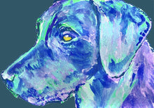 Load image into Gallery viewer, Labrador Dog Gift Subtle violet and vibrant blue Dog Painting - Signed Print of Watercolor acrylic Labrador painting-Labrador dog art print - Dog portraits by Oscar Jetson