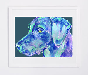 Labrador Dog Gift Subtle violet and vibrant blue Dog Painting - Signed Print of Watercolor acrylic Labrador painting-Labrador dog art print - Dog portraits by Oscar Jetson