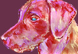 Labrador Dog Gift Rose Pink Red and purple Dog Painting - Signed Print of Watercolor acrylic Labrador painting-Labrador dog art print - Dog portraits by Oscar Jetson