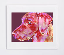 Load image into Gallery viewer, Labrador Dog Gift Rose Pink Red and purple Dog Painting - Signed Print of Watercolor acrylic Labrador painting-Labrador dog art print - Dog portraits by Oscar Jetson